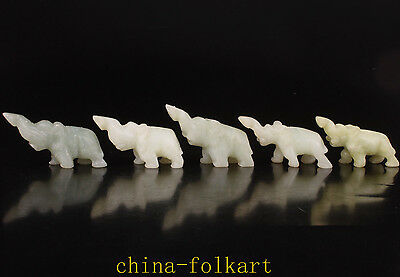 5 Natural Jade Carved Lovely Elephant Statue Figurine Collectable