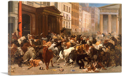 The Bulls and Bears in the Market Canvas Art Print William Holbrook Beard