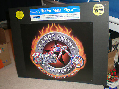 """New Orange County Choppers Metal Biker Motorcycle Collectible Sign, 15""""x12""""."""