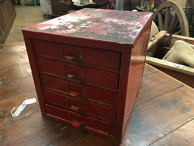 Vintage Industrial 5 Drawer Machinists Cabinet, Industrial small Parts Bin, tool