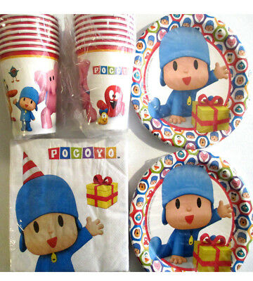 POCOYO - Birthday Party Supplies Set Pack w/ Plates,Napkins, Cups & Tablecover