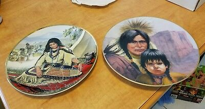 "Plate Lot of 2 8"" Sacajawea Noble American Hamilton Cheyenne Nation Vague Shadow"