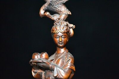 Collectible Rare Handwork Old Boxwood Fairy Birthday Red-Crowned Cranes Statue