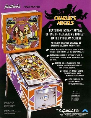 CHARLIES ANGELS Pinball Machine Flyer Jaclyn Smith Cheryl Ladd GOTTLIEB Original