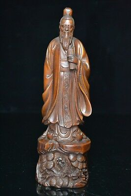 Old Collectible Boxwood Handwork Ancient Grand Secretary Japanese Netsuke Statue