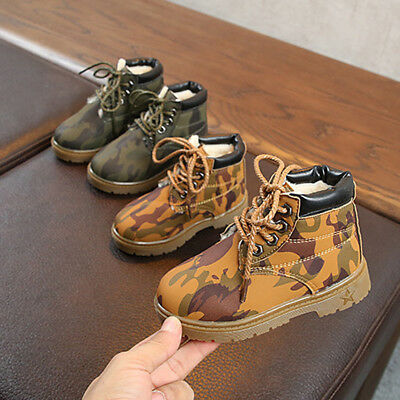 Infant Baby Toddler Kids Boy Girls Camo Lace-Up Ankle Boots Chelsea Martin Shoes