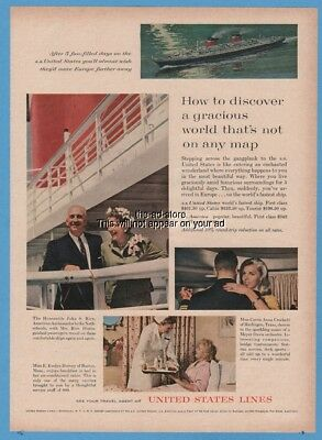 1962 SS United States cruise ship Lines 60s Boat Party Photo Print ad