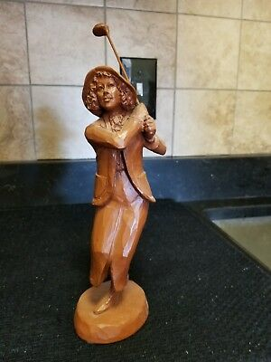 Vintage peacan shell Woman Golfer by artist Weetherbee