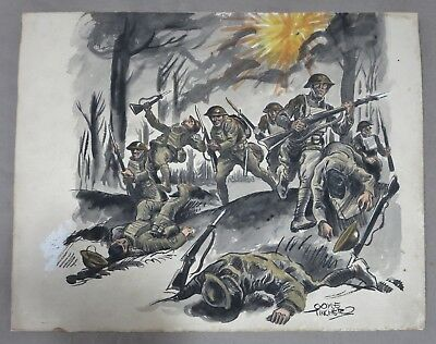 Original WW1 Watercolor Painting BATTLE of BELLEAU WOOD by Artist COYLE TINCHER