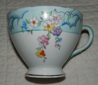 Vintage Foley English Bone China Tea Cup Gold Rim Blue Floral MADE in ENGLAND