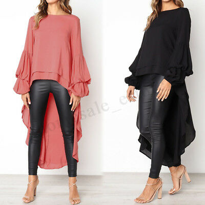 Women Round Neck Casual High Low Shirt Tops Waterfall Asymmetrical Blouse Plus