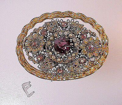 Antique Victorian brooch pin Rhinestones ornate metal lace work GORGEOUS!!