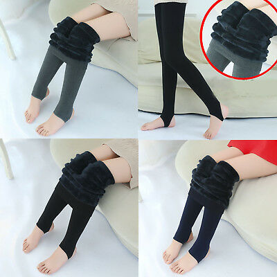 New Winter Kids Girls Warm Leggings Fleece Lined Pants Thermal Stretchy Trousers