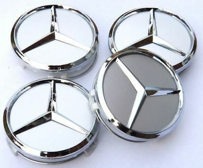 4x75mm Silver Wheel Cover Hub Center Caps Badge Decoration For Mercedes Benz