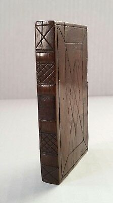 Charming Antique Hand Carved Wooden Book-Shaped Calling Card Case