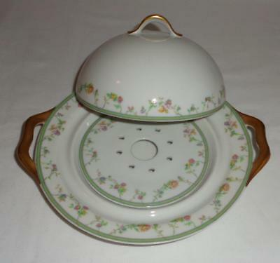 Haviland Limoges China Genevieve 593a Covered Butter Dish with Strainer