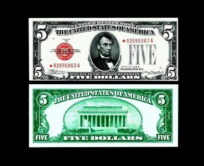 """1928B  ****""""STAR """"***** $5 Red Seal United States Note~~ALMOST UNCIRCULATED"""