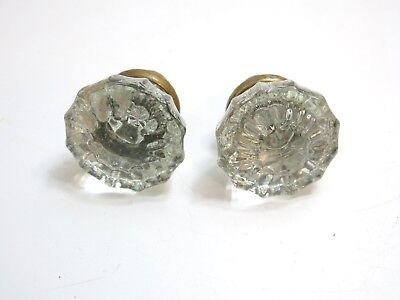 Lot Of 2 Antique ~ Vintage Matching Glass And Brass Door Knobs 12 Point