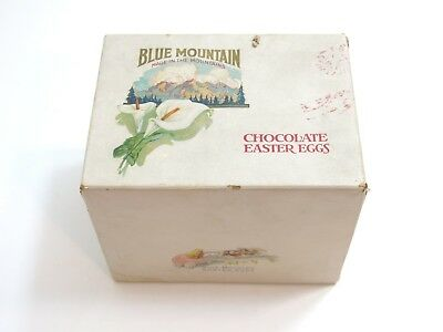 Vintage / Antique Blue Mountain Chocolate Easter Eggs Paper Wrapped Box + Extras
