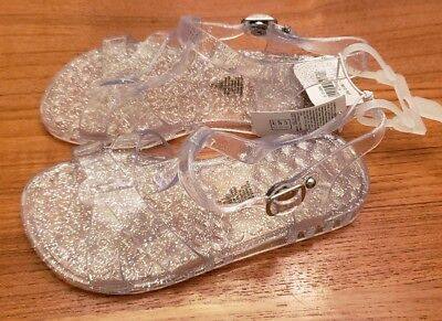 14753f73e477 NEW Old Navy Toddler Girls SIZE 10 Jelly T-Strap Sandals CLEAR SPARKLE   107918