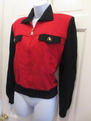 ST. JOHN By Marie Gray RED & BLACK Zip Front Santana Knit BLAZER Jacket S Small