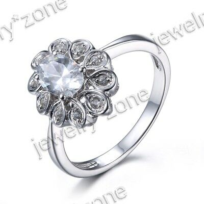 Beauty Genuine White Topaz 6x4mm Oval Wedding Diamond Flower Ring 10K White Gold
