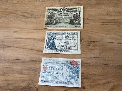 Lot Of 3 Rare Very Hard To Find Russia Ukraine Bonds All In EF
