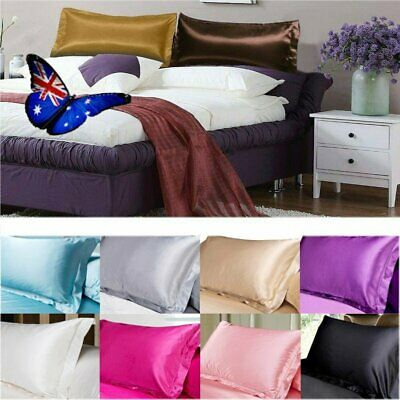 2X Silk Satin Pillow Case Cover Solid Standard Bedding Smooth Soft Pillowcase AU