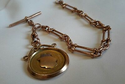 Excellent Antique 9Ct Fancy Trombone Link Rose Gold Watch Chain & Medal Fob