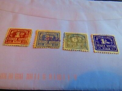 Cattle Stamp Duty Stamps  - Set Of 4 -  1/- , 1D , 2 D , 6 D