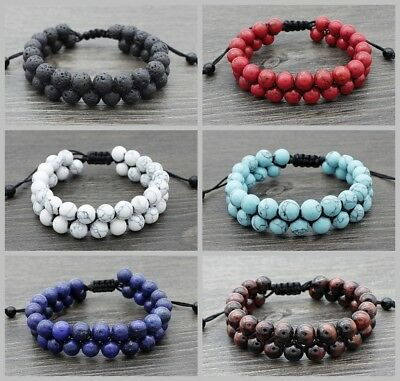 Women Men Natural Stone Tiger Eye Rock Lava Beaded Braided Rope Double Bracelets