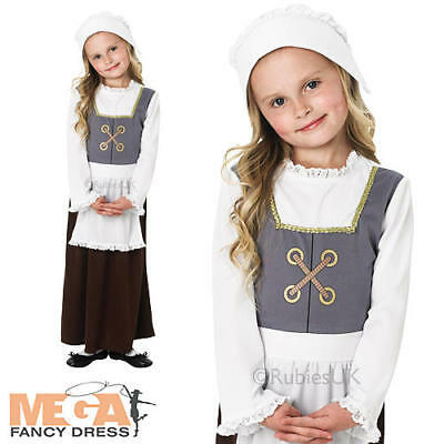 Medieval Tudor Dress Girls Fancy Dress World Book Day Childs Costume Outfit New