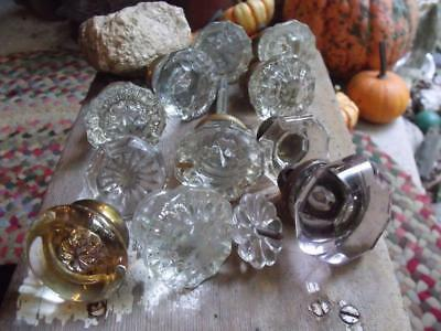 Mixed Lot of 12 Vintage Glass Knobs Door Knobs Clear & Purple