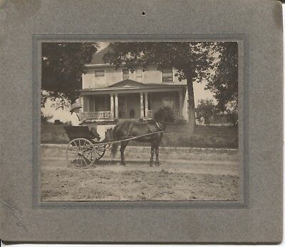 Cabinet Photo Boy with Pony & Buggy Sweet Springs Missouri by Hagan c.1900