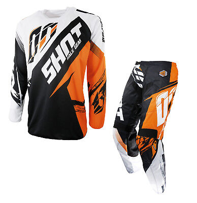 New Adult Shot Contact Fast Orange Race Gear Combo Jersey Pants Kit 30 32 34 36