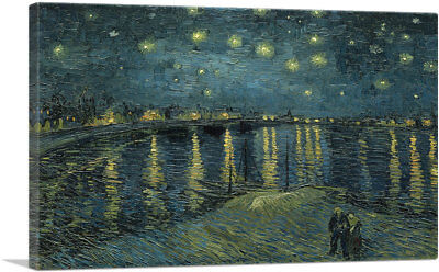 ARTCANVAS Starry Night Over the Rhone 1888 Canvas Art Print by Vincent Van Gogh