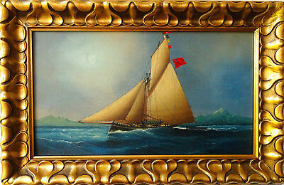 Chéri-François Dubreuil (1828-1880) Antique oil painting Australia Ship in Sea