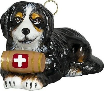 Bernese Mountain Dog with Barrel Polish Glass Christmas Ornament Decoration
