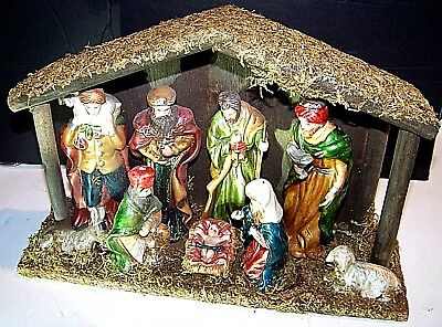 """Vintage  Adoration of the Christ by the Magi Manger Creche 11"""" x 7-1/2"""" x 3-1/2"""""""