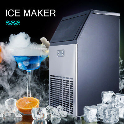 Stainless Commercial Countertop Ice Maker Cooled Cube Undercounter Machine USA