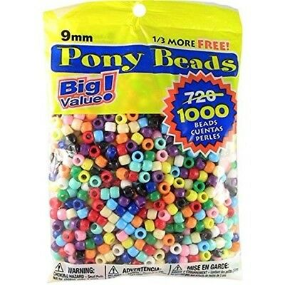 Darice Value Pack Pony Bead, 9mm, Opaque Multicolor, 1000-pack - Beads 6mmx9mm
