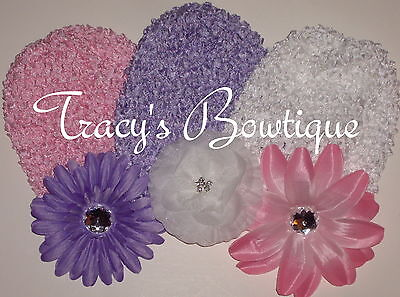 Baby Infant Toddler Girls Crochet Waffle Beanie Hats Caps w/ Flowers Clips #3