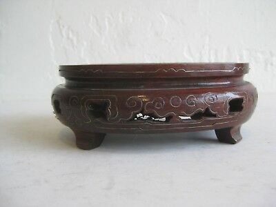Fine Old Chinese Carved Hardwood Rosewood Wood Stand w/Silver Inlay Jade Statue
