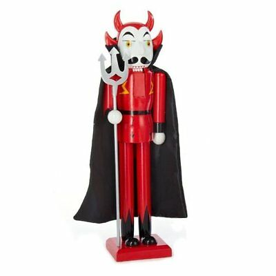 Devil with Cape and Trident Wooden 15 Inch Halloween Nutcracker