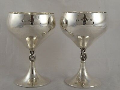Lovely Pair Solid Sterling Silver Champagne Cup / Goblets 1971 254 G