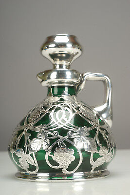 Rare Antique 19th Century Heavy Sterling Silver Overlay Green Glass Decanter