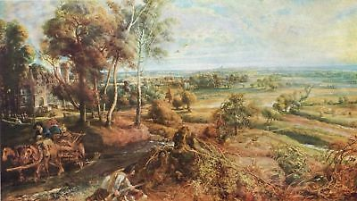"1955 Tipped In Art Print ""Landscape w/Castle Steen"" By Peter Paul Rubens"