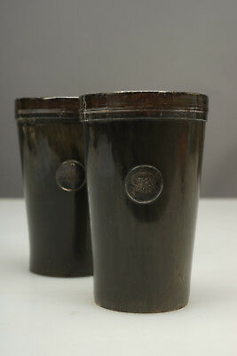 Pair 19th Century Scottish Silver-Mounted Horn Stirrup Drinking Cups