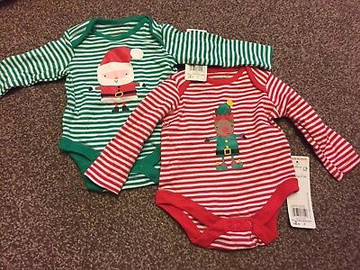 Baby's Christmas Long Sleeved Vest x 2 - Cotton - Age up to 3 Month- BNWT