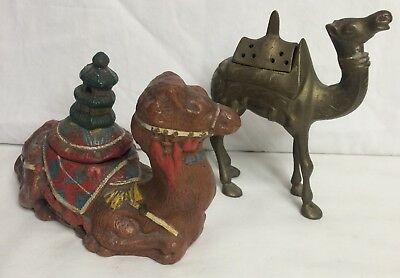 Vtg Camel Incense Burner Brass Red Clay Old Marked Egyptian Revival~Rare!